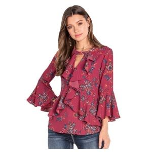 Miss Me Ruffle Bell Sleeve Key Hole Blouse
